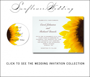 Sunflower Wedding Invitations for Rustic Weddings by BlissfulWedding for MonogramGallery.ca