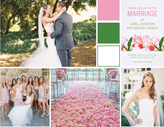 Inspiration Board for Pink Green Orchid Wedding Invitations by BlissfulWedding for MonogramGallery.ca