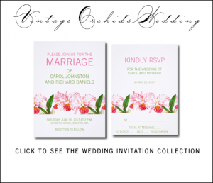Pink Green Orchid Wedding Invitations by BlissfulWedding for MonogramGallery.ca