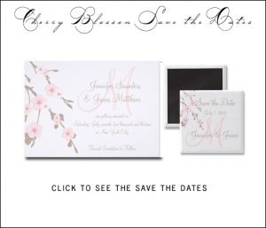 Cherry Blossom Save the Date Cards and Magnets by MonogramGallery.ca