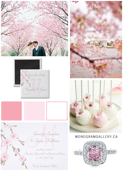 Inspiration Board for Cherry Blossom Save the Date Cards and Magnets by MonogramGallery.ca