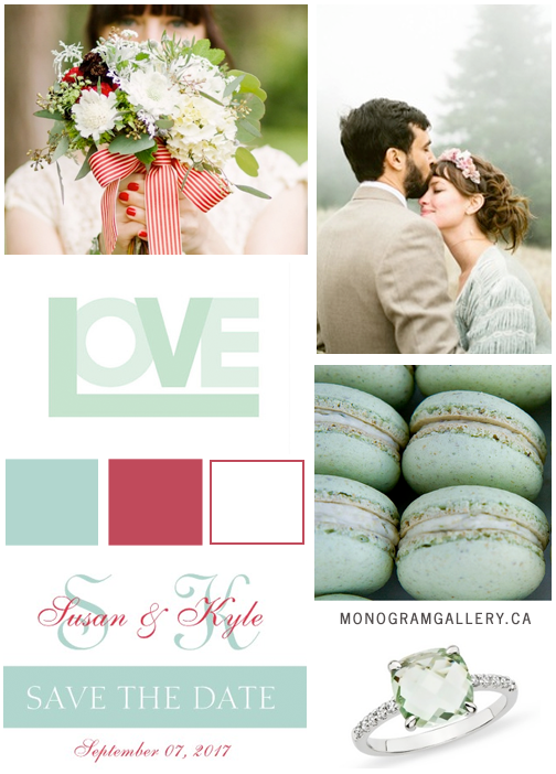 Inspiration Board for Mint Green Red Save the Dates with Modern Monogram by MonogramGallery.ca