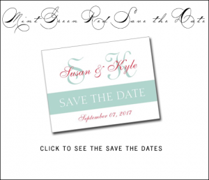 Mint Green Red Save the Dates with Modern Monogram by MonogramGallery.ca
