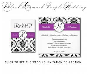 Purple Wedding Invitations | Damask by MonogramGallery.ca