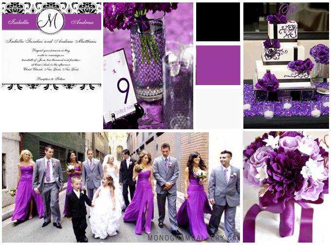 Inspiration Board for Purple Wedding Invitations | Damask by MonogramGallery.ca