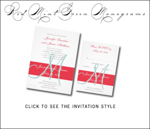Poppy Red Wedding Invitations | Mint Green by MonogramGallery.ca