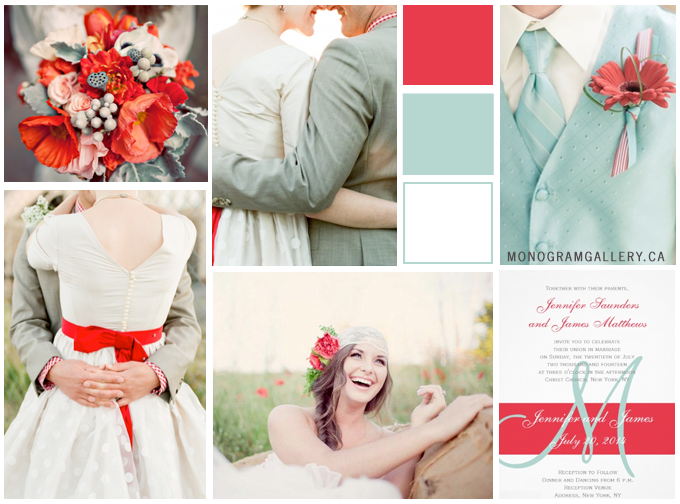 Inspiration Board for Poppy Red Wedding Invitations | Mint Green by MonogramGallery.ca