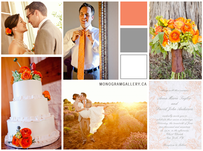 Inspiration Board for Orange Floral Wedding Invitations by MonogramGallery.ca
