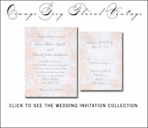 Orange Floral Wedding Invitations by MonogramGallery.ca