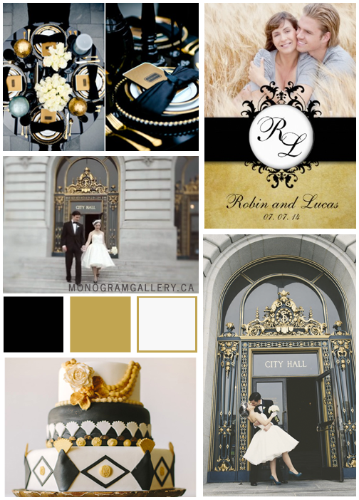 Inspiration Board for Gold Damask Wedding Invitations by MonogramGallery.ca