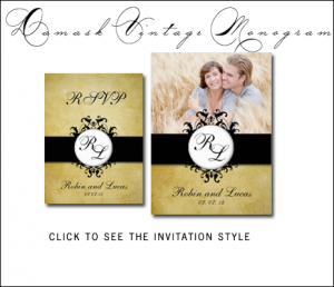 Gold Damask Wedding Invitations | Vintage by MonogramGallery.ca