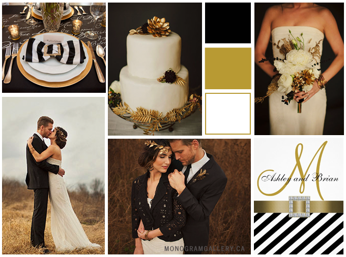 Inspiration Board for Black Wedding Invitations | White Stripes by MonogramGallery.ca