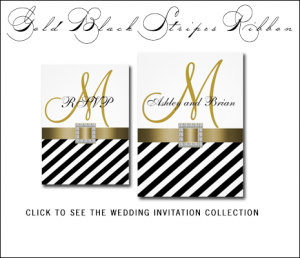 Black Wedding Invitations | White Stripes by MonogramGallery.ca