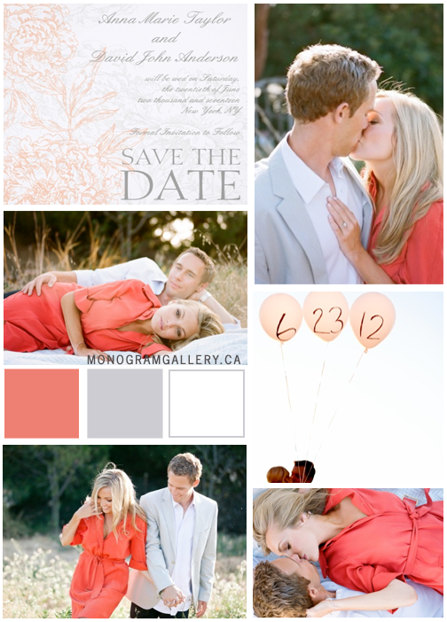 Inspiration Board for Orange Gray Save the Dates | Vintage Floral by MonogramGallery.ca