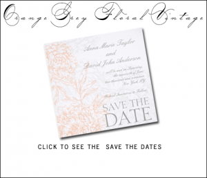 Orange Gray Save the Dates | Vintage Floral by MonogramGallery.ca