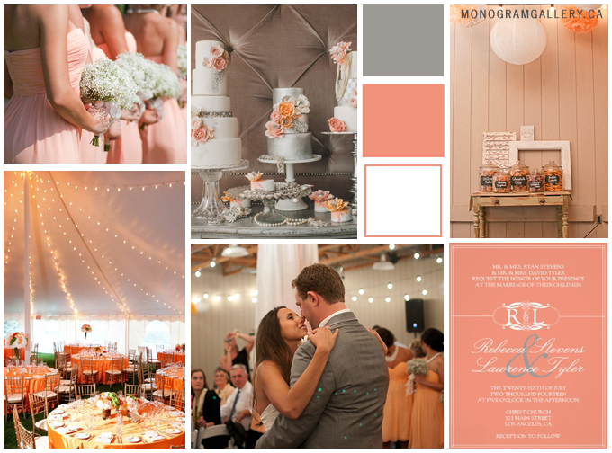 Inspiration Board for Orange Wedding Invitations | Peachy and Grey by MonogramGallery.ca