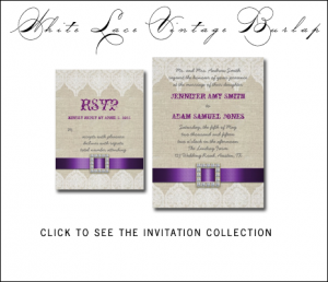 Purple Wedding Invitations | Burlap and Lace by MonogramGallery.ca