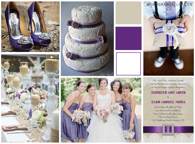 Inspiration Board for Purple Wedding Invitations | Burlap and Lace by MonogramGallery.ca