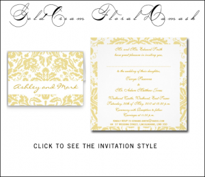 Gold Cream Damask Wedding Invitations by WeddingCentre for MonogramGallery.ca