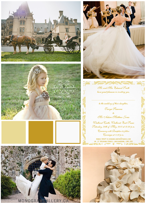 Wedding Inspiration Board Gold Cream Damask Wedding Invitations by WeddingCentre for MonogramGallery.ca