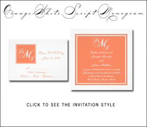Orange Wedding Invitations by MonogramGallery.ca