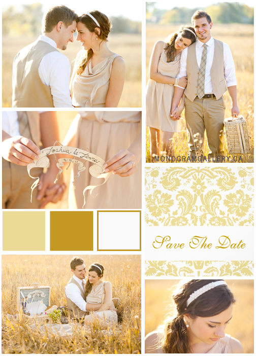 Gold Inspiration Board for Cream Damask Save the Date Cards by the WeddingCentre for MonogramGallery.ca