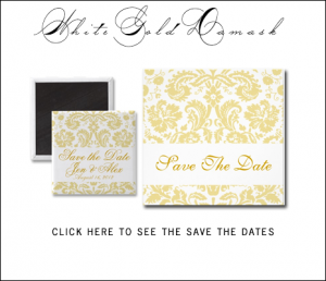 Gold Cream Damask Save the Date Cards by the WeddingCentre for MonogramGallery.ca