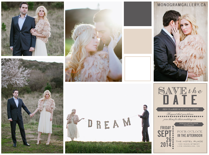 Inspiration Board for Beige Gray Save the Date Cards by AntiqueChandelier for MonogramGallery.ca