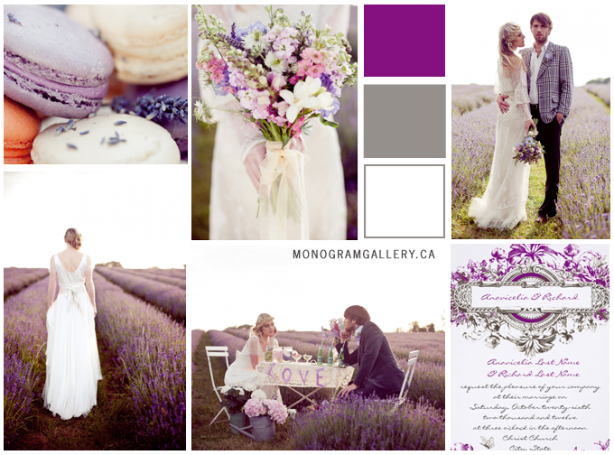 Inspiration Board for Vintage Purple Wedding Invitations by MonogramGallery.ca