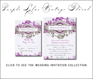 Vintage Purple Wedding Invitations by MonogramGallery.ca