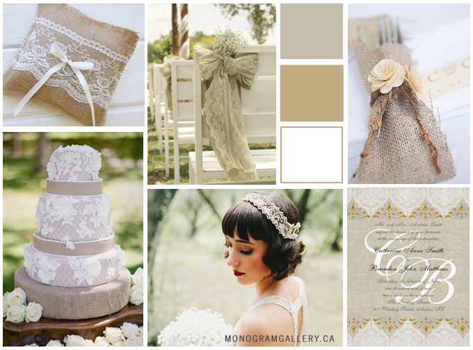 Inspiration Board for Burlap Wedding Invitations designed by MonogramGallery.ca
