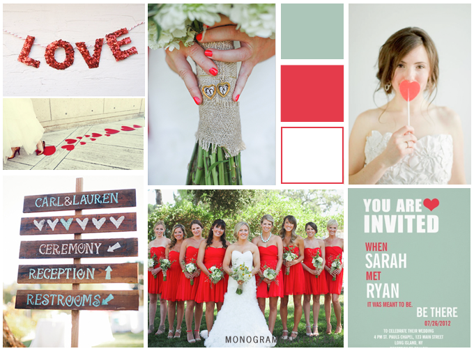 Inspiration Board for Poppy Red Mint Green Wedding Invitations by MonogramGallery.ca