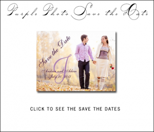 Purple Photo Save the Date Cards with Monogram by MonogramGallery.ca