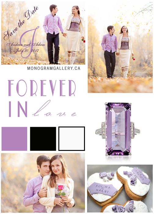 Purple Photo Save the Date Cards and Inspiration Board by MonogramGallery.ca