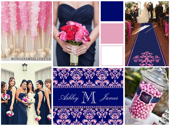 Wedding Inspiration Board for Navy Blue Pink Damask Wedding Invitations by MonogramGallery.ca