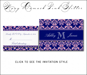 Navy Blue Pink Damask Wedding Invitations by MonogramGallery.ca