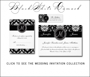 Black White Damask Wedding Invitations | Monogram by MonogramGallery.ca