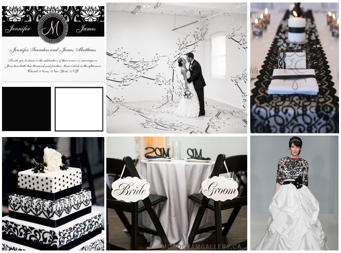 Wedding Inspiration Board for Black White Damask Wedding Invitations | Monogram by MonogramGallery.ca