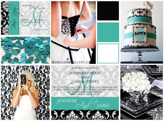 Wedding Inspiration Board for Teal Black Damask Wedding Invitations by MonogramGallery.ca