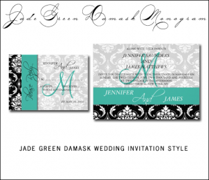 Teal Black Damask Wedding Invitations by MonogramGallery.ca