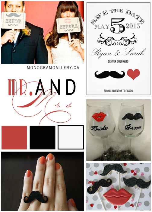 Mr and Mrs Save the Date Cards by AntiqueChandelier. Wedding Inspiration Board by MonogramGallery.ca