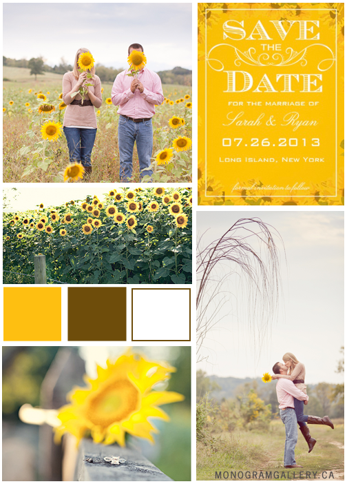 Vintage Sunflower Save the Date Cards by AntiqueChandelier. Inspiration Board by MonogramGallery.ca