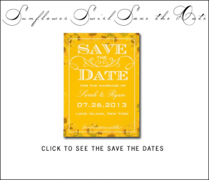 Vintage Sunflower Save the Date Cards by AntiqueChandelier for MonogramGallery.ca