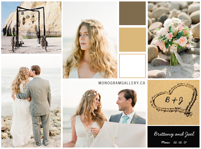 Beach Wedding Inspiration Board and Beach Wedding Invitations | Monograms Heart in Sand by MonogramGallery.ca