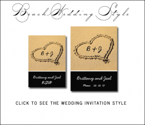 Beach Wedding Invitations | Monograms Heart in Sand by MonogramGallery.ca