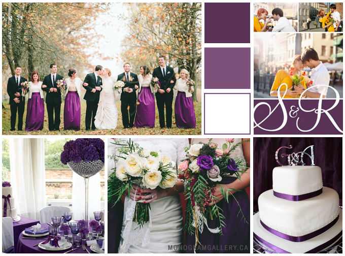 Inspiration Board for Purple Photo Wedding Invitations | Modern Monograms by MonogramGallery.ca