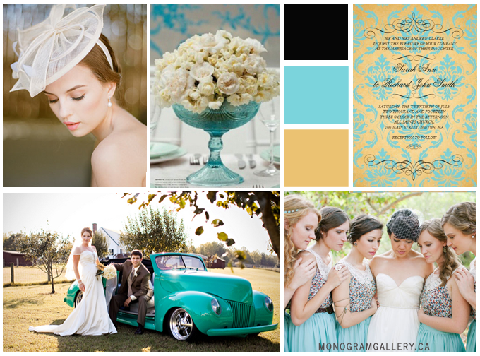 Tiffany Blue Wedding Inspiration Board and Tiffany Blue Gold Wedding Invitations | Vintage Damask by MonogramGallery.ca