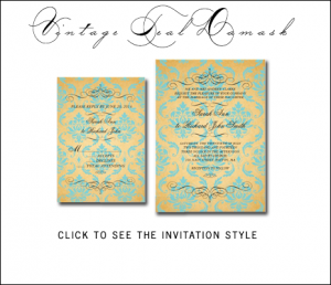 Tiffany Blue Gold Wedding Invitations | Vintage Damask by MonogramGallery.ca