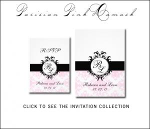 Pink Black Wedding Invitations with Parisian Damask Monograms by MonogramGallery.ca
