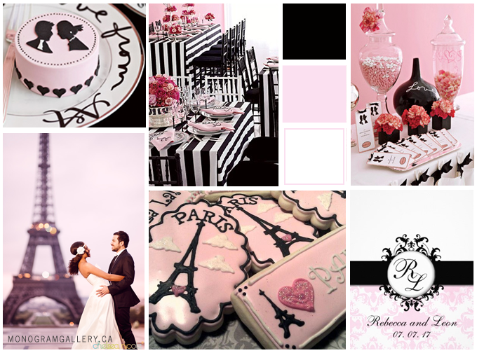 Pink Black Wedding Invitations and Parisian Wedding Inspiration Board by MonogramGallery.ca
